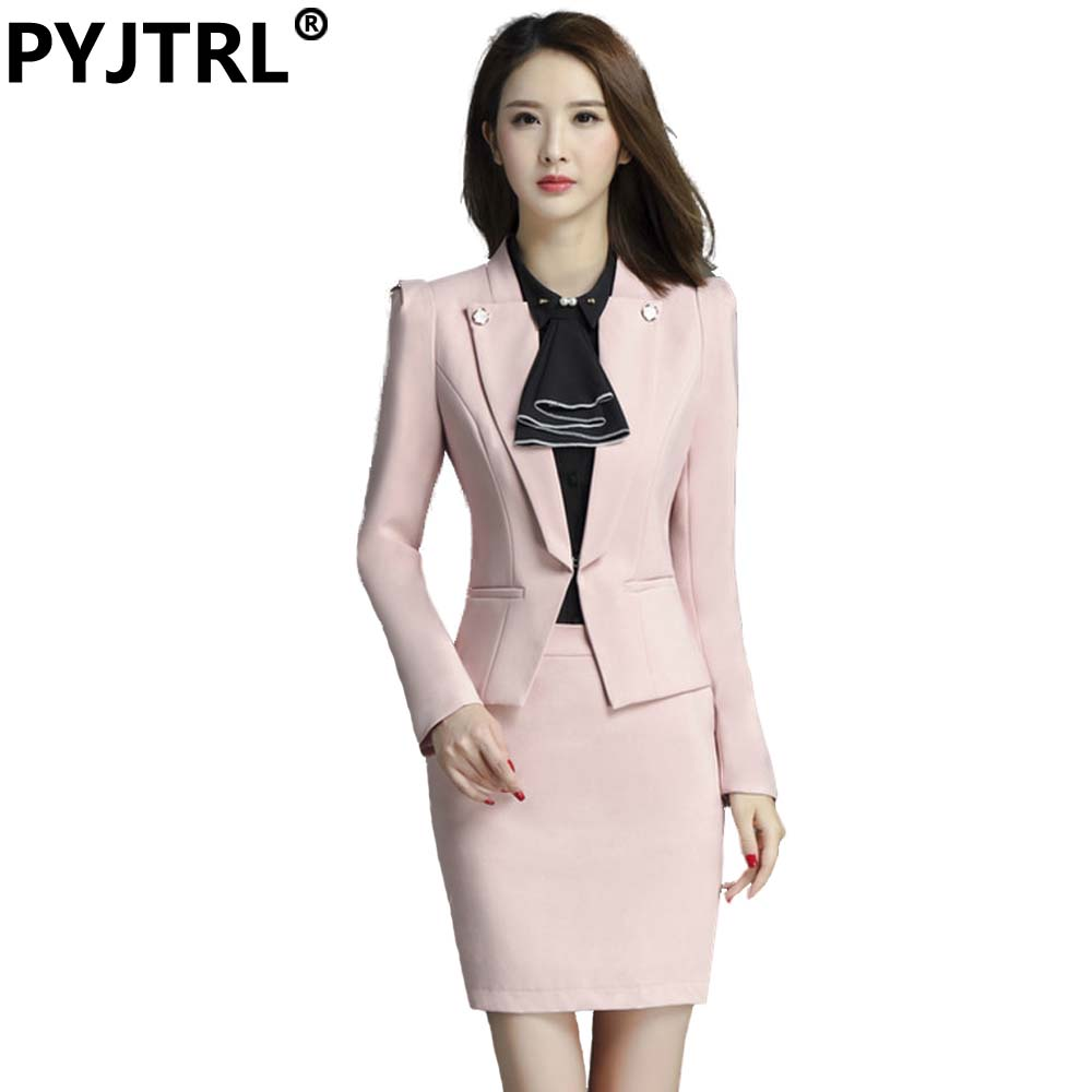 fe989cdd4cc50 PYJTRL Brand Two Piece Set Pink Office Uniform Designs Women Elegant Fashion  Skirt Formal Suits Ladies Business Outfits Suit
